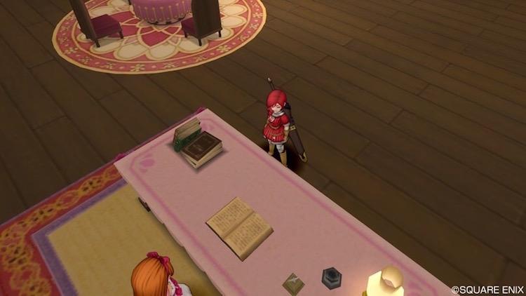 リゼロッタの机を挟んで主人公(DQ10)