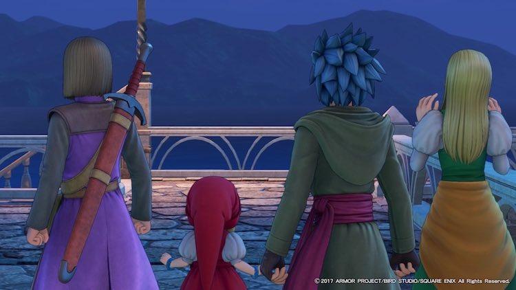 整列するメインキャラクターの後ろ姿(DQ11)