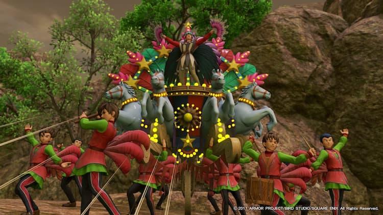 襲われているプチャラオ村の村民を救いに謎のパレード集団が現れる(DQ11)